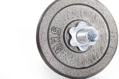 Гантель с весом 5kg на белой предпосылке Стоковое Фото