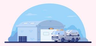 Гараж для хранения и автостоянки автомобилей Ремонтная мастерская автомобиля Вредитель грузовика с небезупречным автомобилем на п иллюстрация вектора