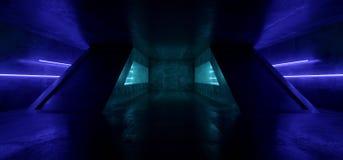 Гараж конкретного темного пустого тоннеля Grunge футуристической виртуальной реальности Sci Fi неоновой дневной живой голубой нак иллюстрация штока