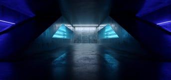 Гараж конкретного темного пустого тоннеля Grunge футуристической виртуальной реальности Sci Fi неоновой дневной живой голубой нак бесплатная иллюстрация