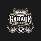 Гараж, мастерская, логотип автомобиля, эмблема на темной предпосылке r иллюстрация вектора