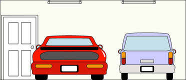 Гараж с автомобилями бесплатная иллюстрация
