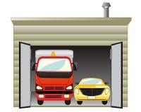 Гараж с автомобилем иллюстрация вектора
