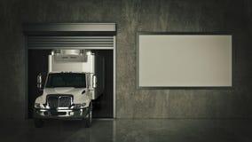 Гараж с раскрытой дверью ролика перевод 3d иллюстрация вектора