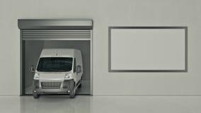 Гараж с раскрытой дверью ролика перевод 3d бесплатная иллюстрация