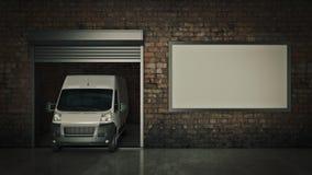 Гараж с раскрытой дверью ролика перевод 3d иллюстрация штока