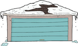 Гараж с снегом на крыше иллюстрация вектора