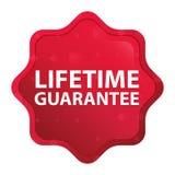Гарантия продолжительности жизни туманная подняла красная кнопка стикера starburst иллюстрация штока