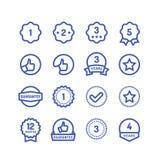 Гарантия штемпелюет линию значки Изолированные символы вектора гарантии стойкости товаров круговые иллюстрация штока