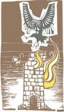 Гарпия и горящая башня иллюстрация штока