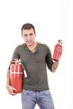 Гаситель сдерживающего огня бизнесмена с пустой Стоковые Изображения RF