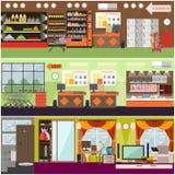 Гастроном, супермаркет, комплект плаката внутреннего вектора дома плоский иллюстрация вектора