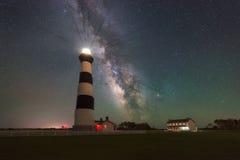 Галактика млечного пути поднимая за маяком острова Bodie стоковые фото