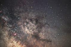 Галактика млечного пути Ядр млечного пути Красивое ночное небо Реальная звездная ночь Реальное ночное небо Стоковая Фотография RF