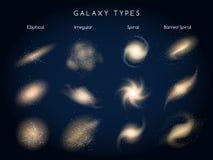 Галактика печатает значки вектора иллюстрация вектора