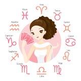 Гадалка женщины и карточка Tarot с знаками зодиака иллюстрация вектора