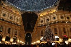 Галерея Vittorio Emanuele II на рождестве Стоковые Изображения RF