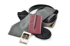 Галстук, носки, пояс и notebook.a установили для бизнесмена Стоковое Изображение