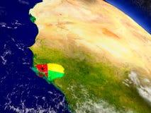 Гвинея-Бисау с врезанным флагом на земле Стоковая Фотография RF