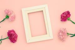Гвоздики и рамка цветка Стоковая Фотография RF