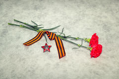 2 гвоздичного дерева цветов, лента Джордж и орден Красной Звезды Стоковые Фотографии RF