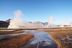 Гейзеры El Tatio, Atacama, Чили Стоковое Изображение RF