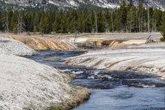 Гейзер покрашенный медью на национальном парке Йеллоустона стоковое фото rf