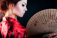 гейша вентилятора деревянная Стоковая Фотография