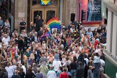 Гей-парад в старом городке Стокгольме Швеции стоковая фотография