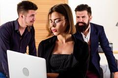 Гений и умелое Женщина гения работая на ноутбуке с людьми в офисе Работник гения женский используя современное стоковая фотография