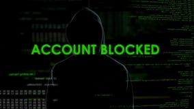 Гений кибер преграждая счет клиента банка, угрозу к финансовой безопасности видеоматериал