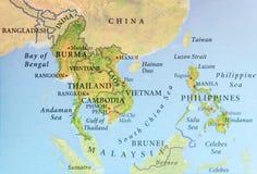 Географическая карта Бирмы, Таиланда, Камбоджи, Вьетнама и Филиппин с важными городами Стоковые Изображения RF
