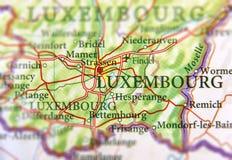 Географическая карта европейской страны Люксембурга с столицей Люксембурга Стоковое Изображение RF