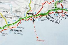 Географическая карта европейской страны Франции со славным городом стоковое фото rf