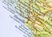 Географическая карта европейской страны Франции с городом марселя Стоковая Фотография