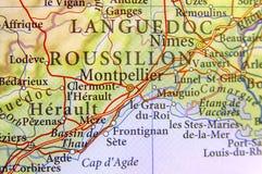 Географическая карта европейской страны Франции с городом Монпелье Стоковая Фотография
