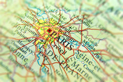 Географическая карта европейской страны Франции с столицей cit Парижа Стоковое Изображение RF