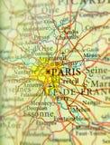 Географическая карта европейской страны Франции с столицей cit Парижа Стоковое Фото
