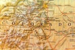 Географическая карта конца положения Колорадо стоковое фото rf