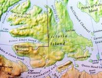 Географическая карта острова Виктории острова Канады стоковые изображения