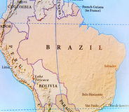 Географическая карта страны Бразилии с важными городами Стоковые Изображения
