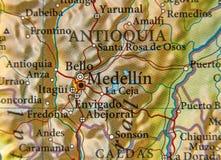Географическая карта страны Колумбии с городом Medellin стоковое фото rf