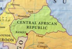 Географическая карта страны Центральноафриканской Республики с важными городами Стоковые Фото