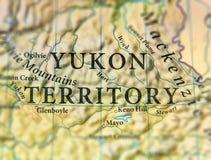 Географическая карта территории Юкона положения Канады с важными городами стоковые изображения rf