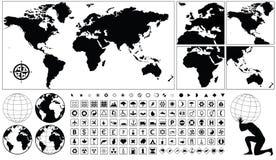 географические иконы Стоковые Фотографии RF
