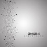 Геометрическая абстрактная предпосылка с соединенными линией и точками Научная концепция для вашего дизайна также вектор иллюстра Стоковые Изображения