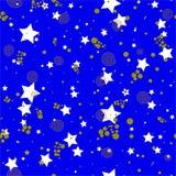 Геометрическая безшовная картина в абстрактном стиле Мемфиса, кругах золота, звездах, спиралях иллюстрация штока