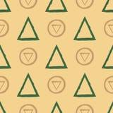 Геометрическая безшовная картина с кругами и треугольниками Нарисовано вручную бесплатная иллюстрация