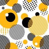 Геометрическая безшовная картина с кругами, нашивками, точками Стоковые Фото