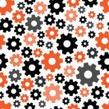 Геометрическая безшовная картина с оранжевыми и черными шестернями r иллюстрация штока